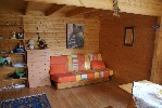 Inside the chalet - settee and sofa bed