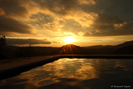 Golden light over the pool
