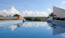 The stunning infinity style swimming pool with mountain views
