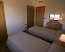 The second bedroom has two spacious built in wardrobes