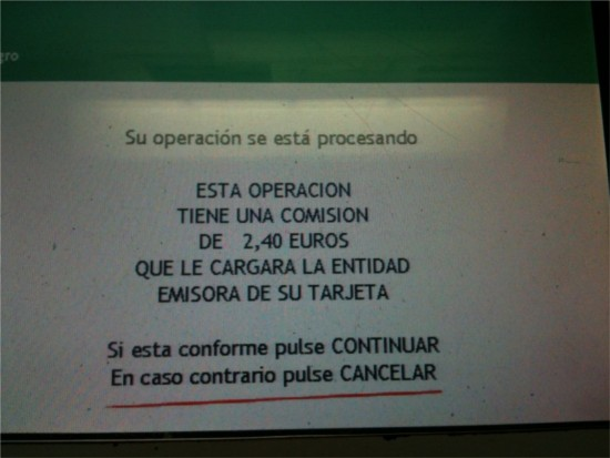 Cash machine charges in Spain