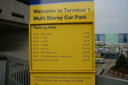Manchester Airport Terminal  Short Stay Car Park Charges