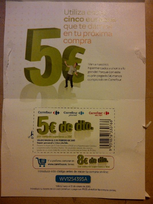 Carrefour giving out discount vouchers similar to the UK