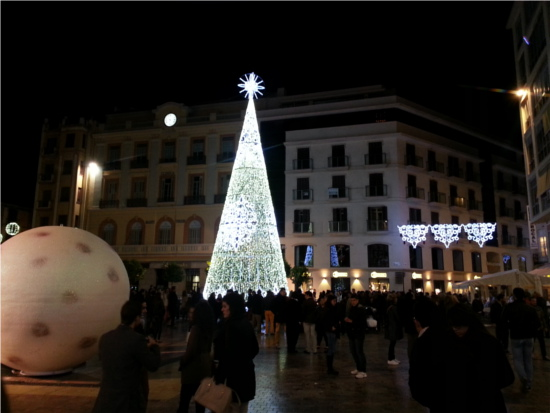 Malaga Christmas lights in the main square