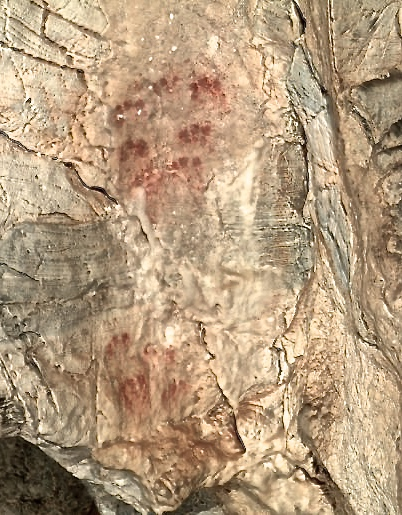 65,500 year-old Neanderthal finger marks in the Ardales cave. Photo from display
