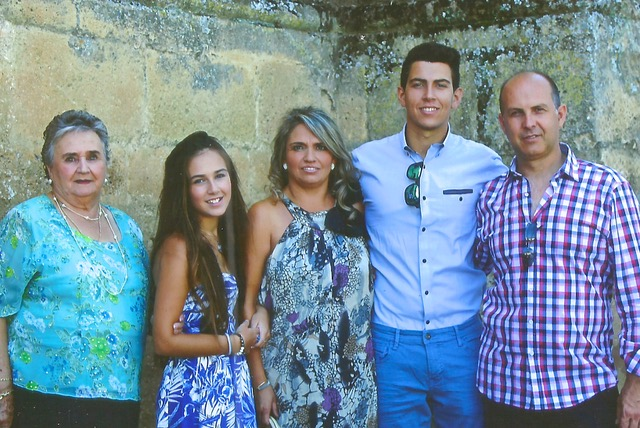 The whole family. Antonia, María del Mar Jr and Sr, Daniel the son and José the father, ca 2015
