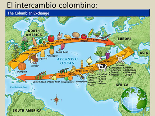 the colombian exchange Columbian exchange columbian exchange refers to the great changes that were initiated by spanish explorer christopher columbus (1451 – 1506) as he and other europeans voyaged from europe to the new world and back during the late 1400s and in the 1500s.